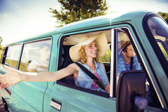 Young people on a road trip Stock Images