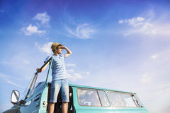 Young people on a road trip Royalty Free Stock Images