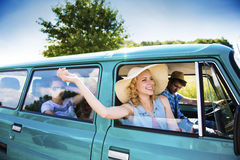 Young people on a road trip Royalty Free Stock Image