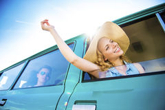Young people on a road trip Royalty Free Stock Photography