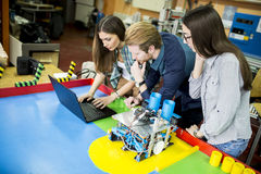Young people in the robotics classroom Stock Photo