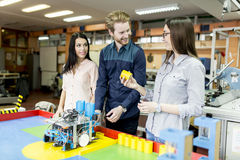 Young people in the robotics classroom Royalty Free Stock Photo