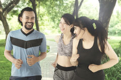 Young people running together in the park. Image of two young pretty women running together with Afro men while talking and laughing in the park Stock Photography