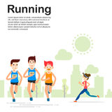 Young people running and training for marathon sport Royalty Free Stock Photo