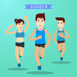 Young people running and training for marathon sport Stock Image