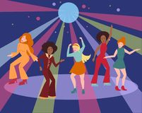 Multi ethnic group in 1960 1970 cloth dance disco. Young people in 1960 1970s style clothes dancing disco. Cartoon style multi ethnic group is moving on dance royalty free illustration