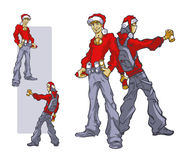 Young people in the Santa clause hat with paint for graffiti. Christmas or New year concept, greeting card or poster. Vector clipart on white background Royalty Free Stock Photography