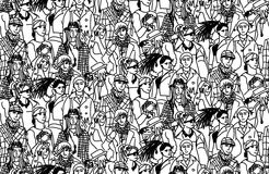 Young people seamless pattern group monochrome Royalty Free Stock Image