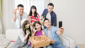 Young people selfie happily Stock Photo