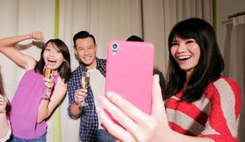 Young people selfie happily Royalty Free Stock Image