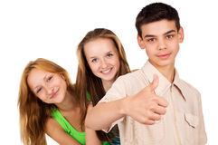 Young people show sign ok Stock Photography