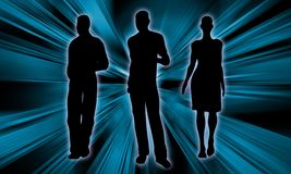 Young people silhouette. Business Background with young people silhouette on an light rays background Royalty Free Stock Photos