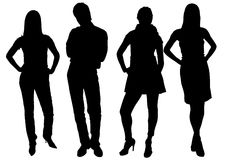 Young people silhouette vector Stock Photos
