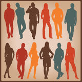 Young people  silhouettes Royalty Free Stock Images