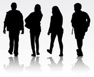 Young people silhouettes Stock Photo