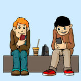 Young people . Sit on the bench. Attention to each other do not pay. Listen to musi. Royalty Free Stock Photos