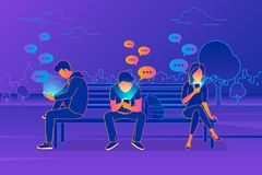 Young people sitting in the park and texting messages in chat using mobile smartphone. Young people sitting in the park and texting messages in chat using vector illustration