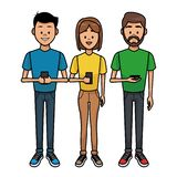 People with smartphones. Young people with smartphones vector illustration graphic design stock illustration