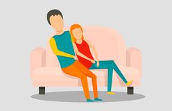 Young people at sofa banner horizontal, flat style vector illustration