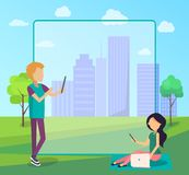 Young People Spend Time in City Park Socializing stock illustration