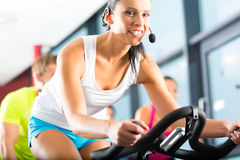 Young People Spinning in the fitness gym Stock Photos
