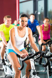 Young People Spinning in the gym Royalty Free Stock Image