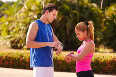 Young People Sports Training Fitness Fitwatch Steps Counter Royalty Free Stock Photography
