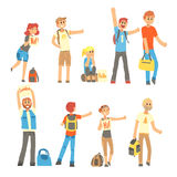 Young people standing with a sign hitchhiking and raised their thumb up set. Young people standing with a sign hitchhiking and raised their thumb up set Royalty Free Stock Images