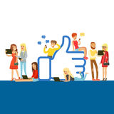 Young people standing and sitting near giant Like symbol, man and woman using mobile gadgets for social networking or. Blogging colorful vector Illustration Royalty Free Stock Image