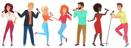 Young people stars with microphones singing and dancing. Girls and guys have fun in karaoke club vector illustration. vector illustration
