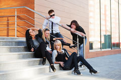 Young people on the steps Stock Image