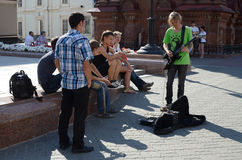 Young people on the street Bauman in Kazan Royalty Free Stock Photos