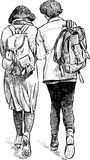 Young people strolling. Vector drawing of the walking teenagers Royalty Free Stock Photo