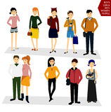 Young people, students in everyday clothes. Funny girl. Girls an Stock Photography
