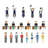 Young people and students. Large set of icons of young people and students with graduates celebrating receiving their diplomas  students working at computers Stock Photo