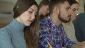 Young people studies at the college stock footage