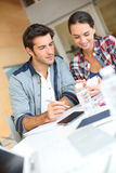 Young people studying together at university Royalty Free Stock Image