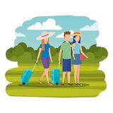 Young people with suitcases in the camp. Vector illustration design stock illustration