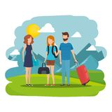 Young people with suitcases in the camp. Vector illustration design royalty free illustration