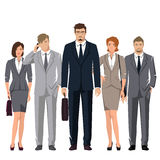 Young people in suits for office. Young active people in elegant suits for office. Vector set Royalty Free Stock Photo
