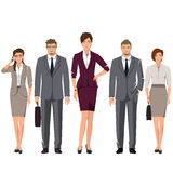 Young people in suits for office. Young active people in elegant suits for office. Vector set Stock Photo