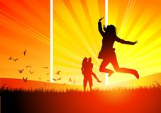 Young people in the Sun. Young people having fun and being active Royalty Free Stock Image
