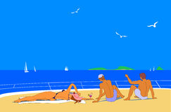 Young people sunbathing on sea. Young girl and two young man sunbath on beach or deck of yacht. They enjoy vacation. Blue sky and sea, white yachts and seagulls Royalty Free Stock Images