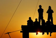 Young people at sunset. Young people at bright sunset Stock Photos