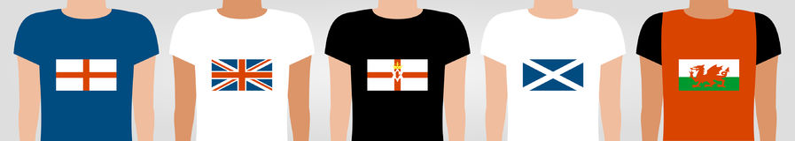 Young people in t-shirts with united kingdom flags. Young people in t-shirts with flags of england scotland wales northern ireland and united kingdom Royalty Free Stock Images