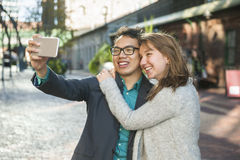 Young people taking selfie Stock Images