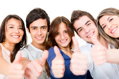 Young people with thumbs up Stock Image