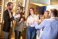 Young people toasting with white wine. At home Royalty Free Stock Photos