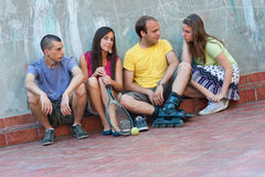 Young people together outdoors Royalty Free Stock Image