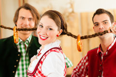 Young people in traditional Bavarian Tracht Stock Images